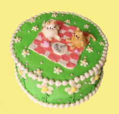 Pretty Birthday Cakes, Pretty Cakes, Cake Birthday, Picnic Cake, Frog Cakes, Cute Baking, Cute Desserts, Just Cakes, Cute Food