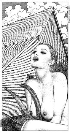 Apollonia Saintclair 702 - 20161219 La sorcière (A New England folktale)  A few months ago I made the first sketch for this drawing, but not knowing how to finish it, I let it slumber in a corner of my studio. Last night I saw The Witch, the masterpiece of Robert Eggers, and I knew exactly how I was going to finish this work ...
