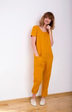 Linen Jumpsuit – Mustard Jumpsuit – Short Sleeve Jumpsuit – Women Linen Overall – Jumpsuit – Linen Romper – Handmade by OFFON Senf Leinen Jumpsuit Kurzarm Overall Frauen Overall Asos Jumpsuit, Jumpsuit With Sleeves, Short Jumpsuit, Denim Jumpsuit, Overall Shorts, Overall Jumpsuit, Denim Overall, Yellow Jumpsuit, Romper Outfit