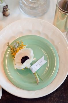 SImple place settings--just some flowers!