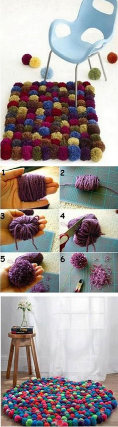 DIY Colorful Pom-Pom Rug 2