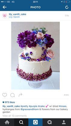 Purple Rose Cake, Pistachio, Huda Beauty, Wedding Cakes, Bakery, Lily, Purple, Pretty, Flowers