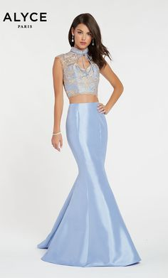 533ba1d260 Alyce Paris Style 60370 Two Piece Shimmery Mikado Mermaid Style With A  Trendy Top Straight Off