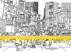 Times Square New York City coloring page.  From the coloring book:  Color New York City - Volume #1 - Wandering Tourist Available now at Amazon: http://amzn.com/1517559111