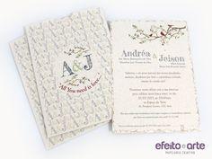 Convite de casamento estilo rústico / divertido, em papel reciclado. Modelo Paris. Orçamentos e pedidos pelo e-mail contato@efeitoearte.com.br