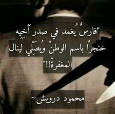 فارس يغمد في صدر اخيه خنجرا باسم الوطن و يصلي لينا المغفرة-محمود درويش