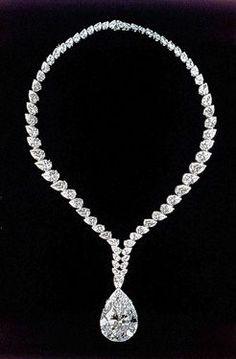 "69.42-carat pear-shape ""Taylor-Burton"" diamond...originally worn as a ring-then converted into a Cartier necklace. #jewelrydiamonds"