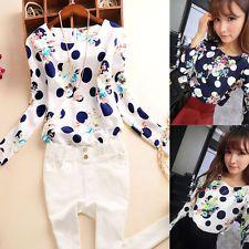 New Women Lady Casual Zip Long Sleeve Floral Top Blouse Shirt T-Shirt