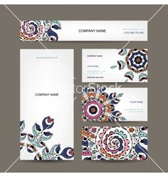 Business cards collection floral design vector by Kudryashka on VectorStock®
