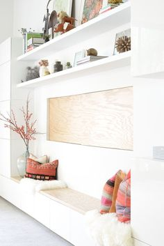 built-in ideas that make a statement. Floating bench area with shelves above make this built-in fresh and functional!! Display pillows and decor with purpose for one perfectly styled room!   How to style your home, how to style a bench, how to decorate open shelves, how to arrange a shelfie, white built-ins