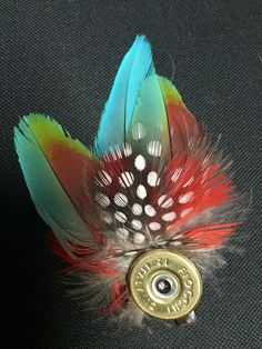 Inventive Feather And Bullet Brooch Wedding Buttonhole Hat Pin Lapel Pin