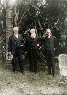 The vagabonds: Burroughs poses with Thomas Edison and Henry Ford