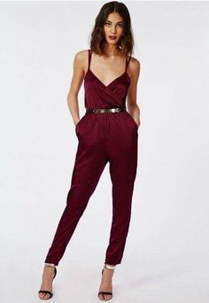 The wrap is back - and better than ever. This silky feel oxblood jumpsuit features a sexy wrap front and elasticated waist - this beauty has certainly made its way to the top of our wish list! Finish the look with suede oxblood barely there. Look Fashion, Autumn Fashion, Fashion Outfits, Fashion News, Fashion Trends, Looks Party, Wrap Jumpsuit, Jumpsuit Style, Silk Jumpsuit