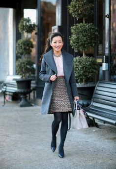 Extra Petite. Blush blouse with embellished collar+tweed skirt with metallic and sequin flecks+navy tights+black pumps+grey dreaped coat+natural coloured handbag with a navy printed scarf. Fall Casual Business Outfit 2016