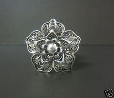 925 Silver Artisan Crafted Filigree Flower Ring Size 10 5 | eBay