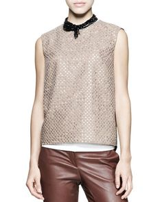 Sleeveless Sequin-Front Top by Brunello Cucinelli at Neiman Marcus.
