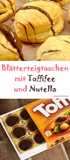 Puff pastries with Toffifee and Nutella- Blätterteigtaschen mit Toffifee und Nutella biscuits - Easy Smoothie Recipes, Easy Smoothies, Snack Recipes, Recipes Dinner, Nutella Biscuits, Cookies Et Biscuits, Puff Pastry Recipes, Puff Pastries, Choux Pastry