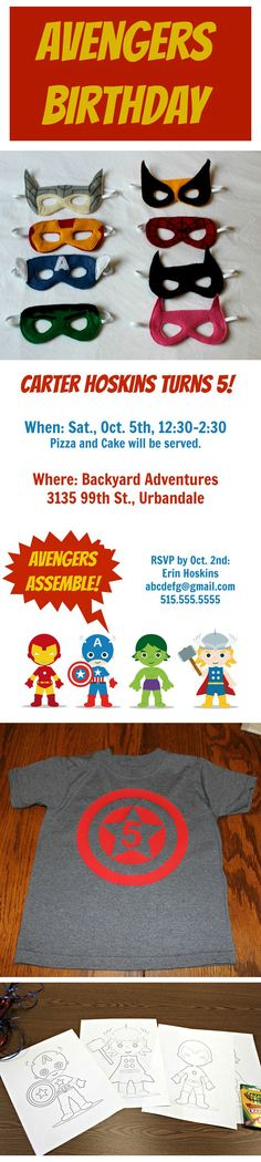 Plan an Avengers Birthday Party. Get ideas for both diy and buy options for invitations, favors, activities, and more! 5th Birthday Party Ideas, Superhero Birthday Party, Birthday Fun, Birthday Party Invitations, Party Favors, Lego, Avengers Birthday, Party Time, Avenger Party