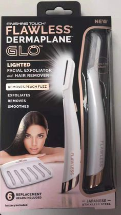 Finishing Touch Lumina Lumina Flawless Dermaplane Glo Lighted Facial Exfoliator & Hair Remover With 6 Replacement Heads Peach Fuzz, Hair Removal, Best Womens Razor, Home Facial Treatments, Natural Hair Styles, Long Hair Styles, Flawless Beauty, Facial Scrubs, Face Skin Care