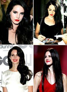 Lana Del Rey + black hair & red lips #LDR #style