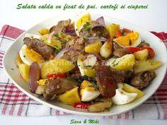 » Salata calda cu ficat de pui, cartofi si ciuperciCulorile din Farfurie Good Food, Yummy Food, Tasty, Fruit Salad, Cobb Salad, Romanian Food, 30 Minute Meals, Pot Roast, Guacamole