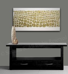 Original Large Abstract Painting White and Gold by ModernHouseArt
