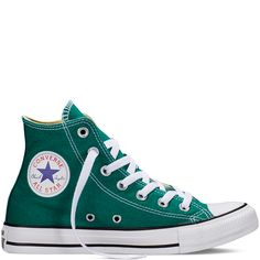 - Canvas upper in teal with white - Mid cut construction - Lace up front closure with metal eyelets - Converse all-star logo detailing - Cushioned foot-bed for comfort - Rubber durable outsole for tra
