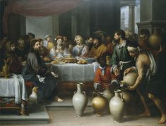 The Marriage Feast at Cana - Bartolome Esteban Murillo. Oil on canvas. 179 x 235 cm. Barber Institute of Fine Arts, Birmingham, UK. Fra Angelico, Francisco Zurbaran, True Devotion To Mary, Renaissance, Paintings Of Christ, Esteban Murillo, Water Into Wine, Art Uk, Bible Stories