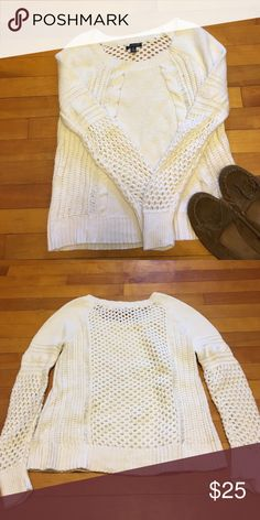 AE sweater Preloved won once white knit sweater from American Eagle.  Open stitching on the back as shown. No rips or stains. Smoke free home. Bundling available. American Eagle Outfitters Sweaters Crew & Scoop Necks