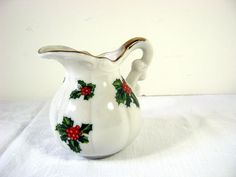 Vintage HOLIDAY mini PITCHER Christmas by LavenderGardenCottag