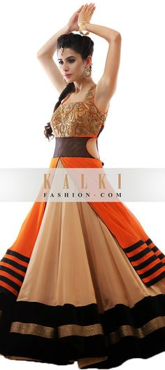 Buy Online from the link below. We ship worldwide (Free Shipping over US$100) http://www.kalkifashion.com/beige-and-orange-anarkali-suit-embellished-in-zardosi-embroidery.html