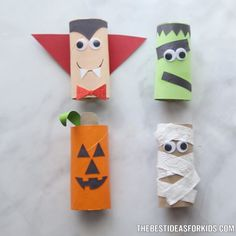 Toilet Paper Roll Crafts HALLOWEEN CRAFTS FOR KIDS: Halloween Toilet Paper Rolls - these are too cute! Perfect Halloween craft for kindergarten, toddlers and preschoolers. Kids will love making these! Halloween Arts And Crafts, Halloween Crafts For Toddlers, Diy Halloween Decorations, Toddler Crafts, Diy Crafts For Kids, Holiday Crafts, Paper Halloween, Craft Ideas, Preschool Halloween