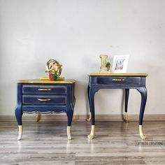 Hand Painted End Tables. His and Her Nightstands. Nightstands, Shabby Chic Furniture, Painted Furniture, Furniture Ideas, French Provincial Table, Painted End Tables, Silver Side Table, Bedroom Night Stands, Refurbished Furniture