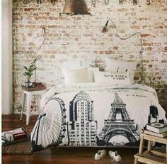Rustic,Paris bedroom. I love the bedding set!