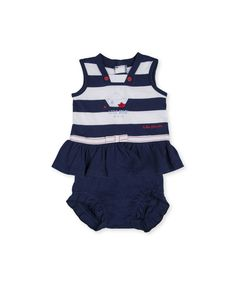 Conjunto de bebé niña Tutto Piccolo de vestido a rayas con cubrepañal