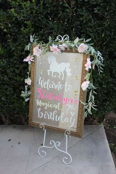 Unicorn Theme Birthday Party Welcome Sign