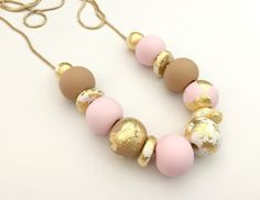 Tan Pink and Gold Leaf Polymer Clay Necklace by Studio1405 on Etsy