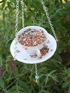 Don't toss that chipped china yet. With the right hardware and some strong glue, you'll have a darling DIY bird feeder.