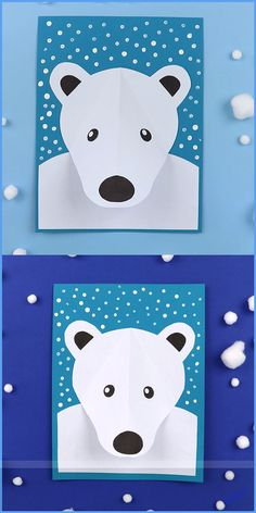 polar bear paper craft for kids. Create a polar bear portrait with a pop-out nose, surrounded by falling snow made from Q-tip dots. This is an easy Winter craft for kids suitable for Kindergarten and up Polar bear portrait Bee Crafts For Kids, Winter Crafts For Kids, Fathers Day Crafts, Paper Crafts Kids, Winter Activities For Kids, Preschool Winter, Winter Art Projects, Kids Diy, Spring Crafts