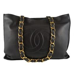 CHANEL black x navy lambskin jumbo shopper shoulder tote bag | Portero... ❤ liked on Polyvore
