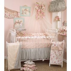 Cotton Tale Designs Tea Party 8 Piece Nursery Crib Bedding Set - Cotton Shabby Chic - Soft Colorful Vintage Floral and Paisley with Ruffle and Rose Bud Fur - Baby Shower Gifts for Girls Baby Girl Nursery Bedding, Girls Bedding Sets, Crib Sets, Bed Sets, Pink Bedding, Chic Nursery, Nursery Ideas, Floral Bedding, Pregnancy