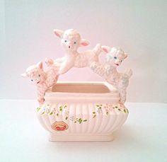 Vintage Lamb Planter Easter Decor Nursery by SophiasWonderland, $26.00