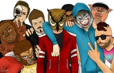 Look at this amazing fanart, it's seriously, like, really good! It's made for BasicallyIDoWrk, Terroriser, Lui Calibre, Mini Ladd, VanossGaming, Daithi De Nogla, H2ODelirious, I AM WILDCAT, and Moo Snuckel by hazirahsuhaimi on Twitter!!! :D