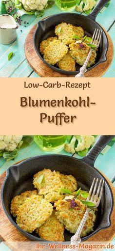 Low-Carb-Rezept für Blumenkohl-Puffer: Kohlenhydratarm, kalorienreduziert, ohne Getreidemehl, gesund ... #lowcarb #frühstück