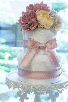 diaper cake,pink,french chic,baby shower,Salon d'or サロンドール ダイパーケーキ(おむつケーキ) 伊勢丹限定デザイン