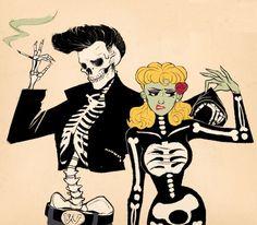 Wish i had some one to share my love of psychobilly/rockabilly with. Arte Horror, Horror Art, Art Pop, Halloween Art, Vintage Halloween, Happy Halloween, Joker Et Harley Quinn, Pop Art Vintage, Arte Obscura