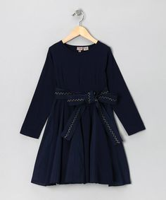 Take a look at this Navy Belt Dress - Toddler & Girls by Aioty on #zulily today!