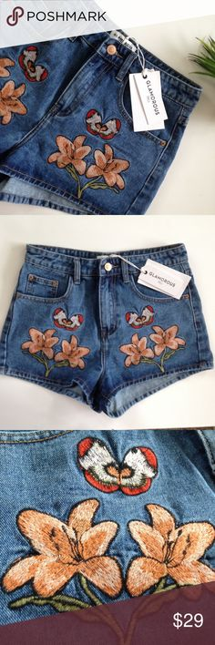 Embroidered Shorts // glamorous UO high waisted NWT // Embroidered high waisted shorts  Brand is glamorous and sold at urban outfitters - this is from the UK, though. Size 8 UK which is a 4 us  Waist measurement is 27  glamorous Shorts