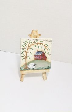 Prim Hand Painted Scene on Tiny Canvas with by ToletallyPainted, $16.00