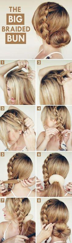 frau mit blonden haaren, dutt frisur mit duttkissen und großem zopf